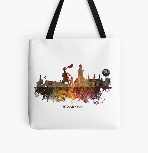Kraków skyline city #krakow #cracow All Over Print Tote Bag