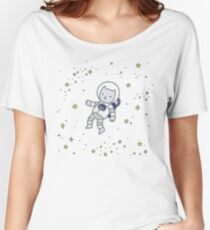 Astronaut Cat Kitten with stars cute space theme for kids on white background Women's Relaxed Fit T-Shirt