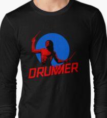 DRUMMER Logo and Figure Long Sleeve T-Shirt