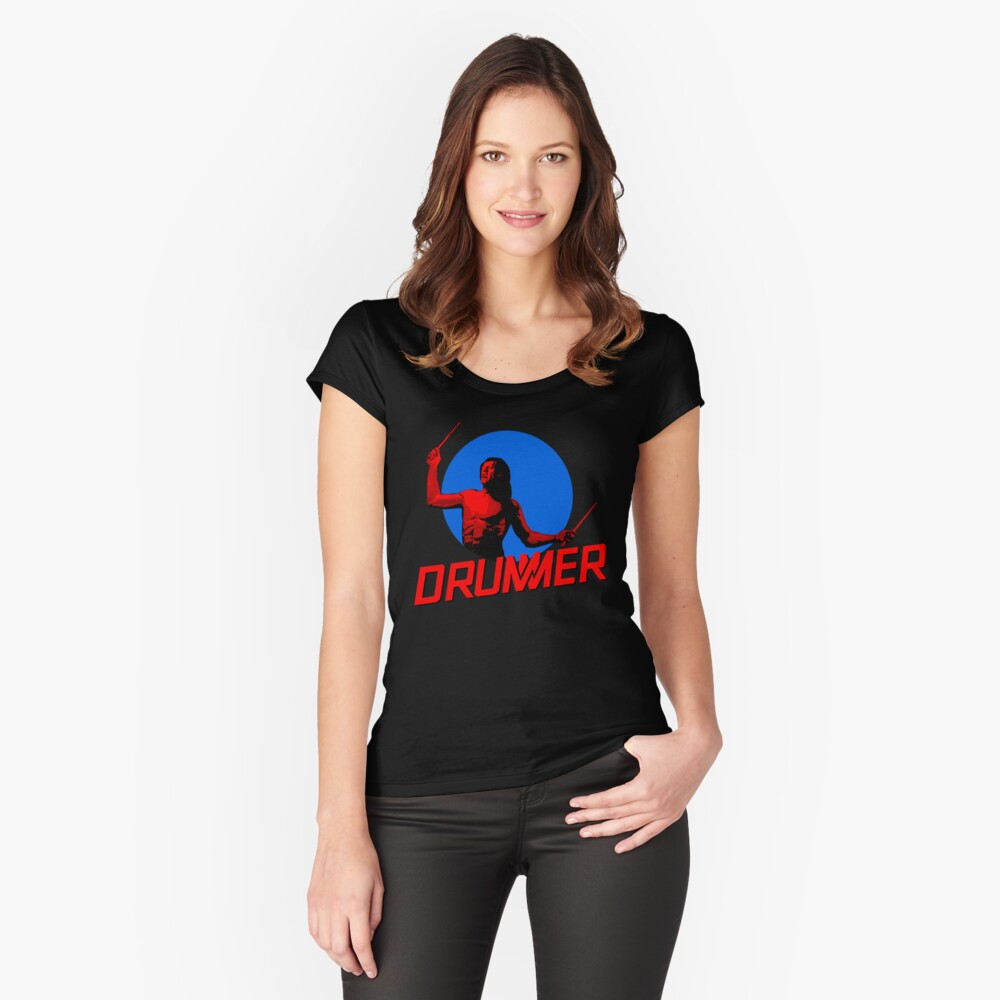 DRUMMER Logo and Figure Fitted Scoop T-Shirt