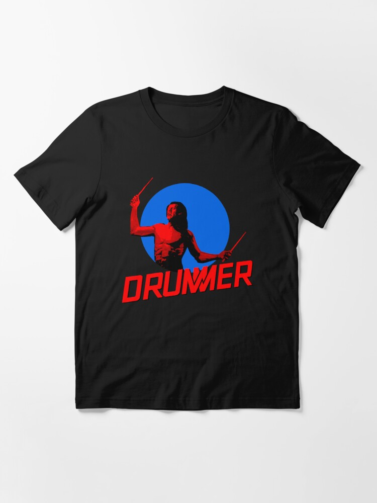 Alternate view of DRUMMER Logo and Figure Essential T-Shirt