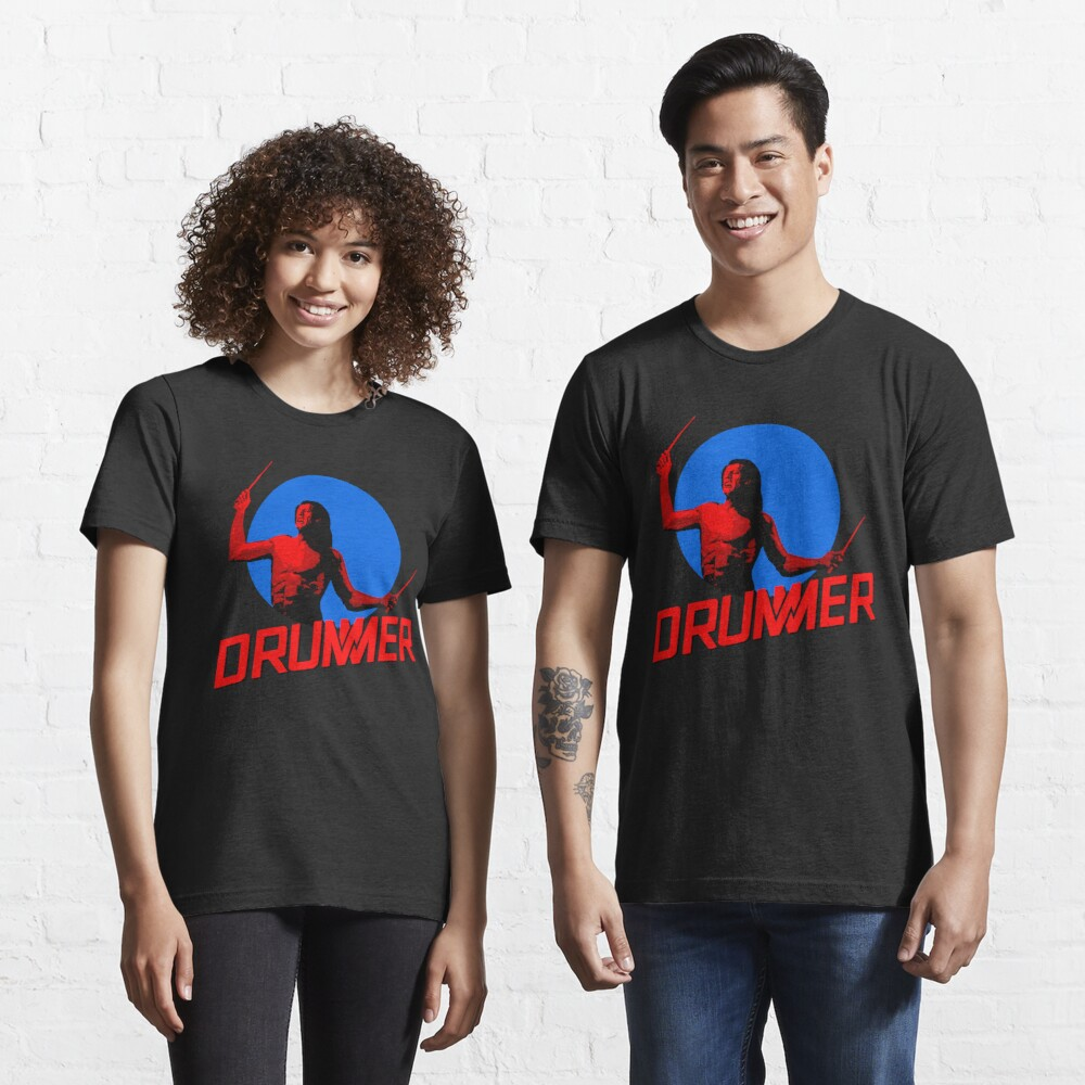 DRUMMER Logo and Figure Essential T-Shirt