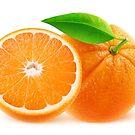 Cut orange fruits by 6hands
