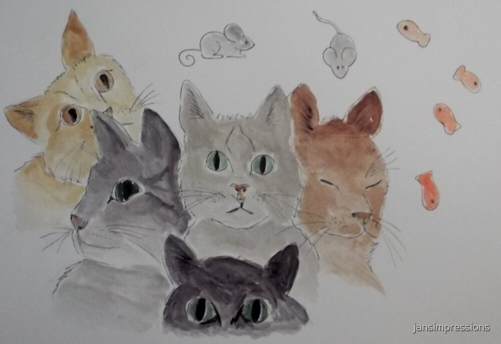 'CAT COLLAGE' by jansimpressions