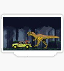 """Must Go Faster"" - Retro 8-Bit Nintendo-style Jurassic T-shirt Sticker"