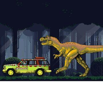 """Must Go Faster"" - Retro 8-Bit Nintendo-style Jurassic T-shirt by PopCultureClub"