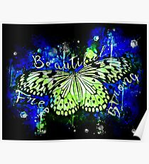 gxp butterfly beautiful strong free splatter watercolor blue green Poster