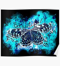 gxp butterfly beautiful strong free splatter watercolor blue negative Poster