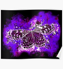 gxp butterfly beautiful strong free splatter watercolor purple pink negative Poster