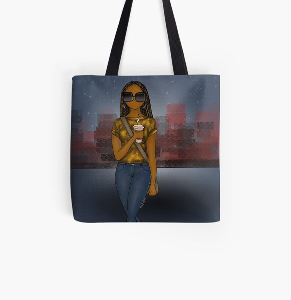 City Lights Afrocentric All Over Print Tote Bag