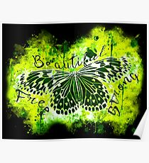 gxp butterfly beautiful strong free splatter watercolor yellow green negative Poster