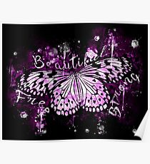 gxp butterfly beautiful strong free splatter watercolor purple pink sepia Poster