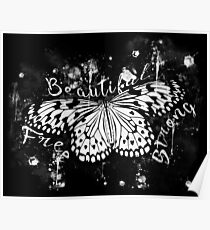 gxp butterfly beautiful strong free splatter watercolor white sepia Poster