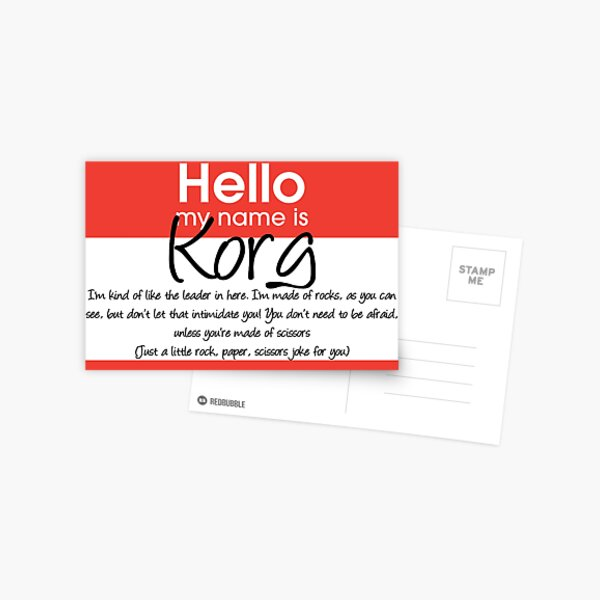Hello My Name Is Korg Postcard