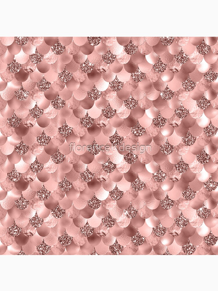 Mermaid Scales Skinny Rose Gold Metallic Sparkly Glitter Blush Pink by florenceKdesign