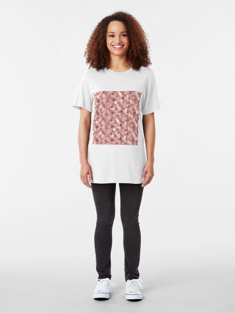 Alternate view of Mermaid Scales Skinny Rose Gold Metallic Sparkly Glitter Blush Pink Slim Fit T-Shirt