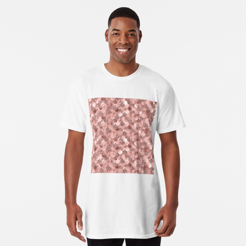 Mermaid Scales Skinny Rose Gold Metallic Sparkly Glitter Blush Pink Long T-Shirt