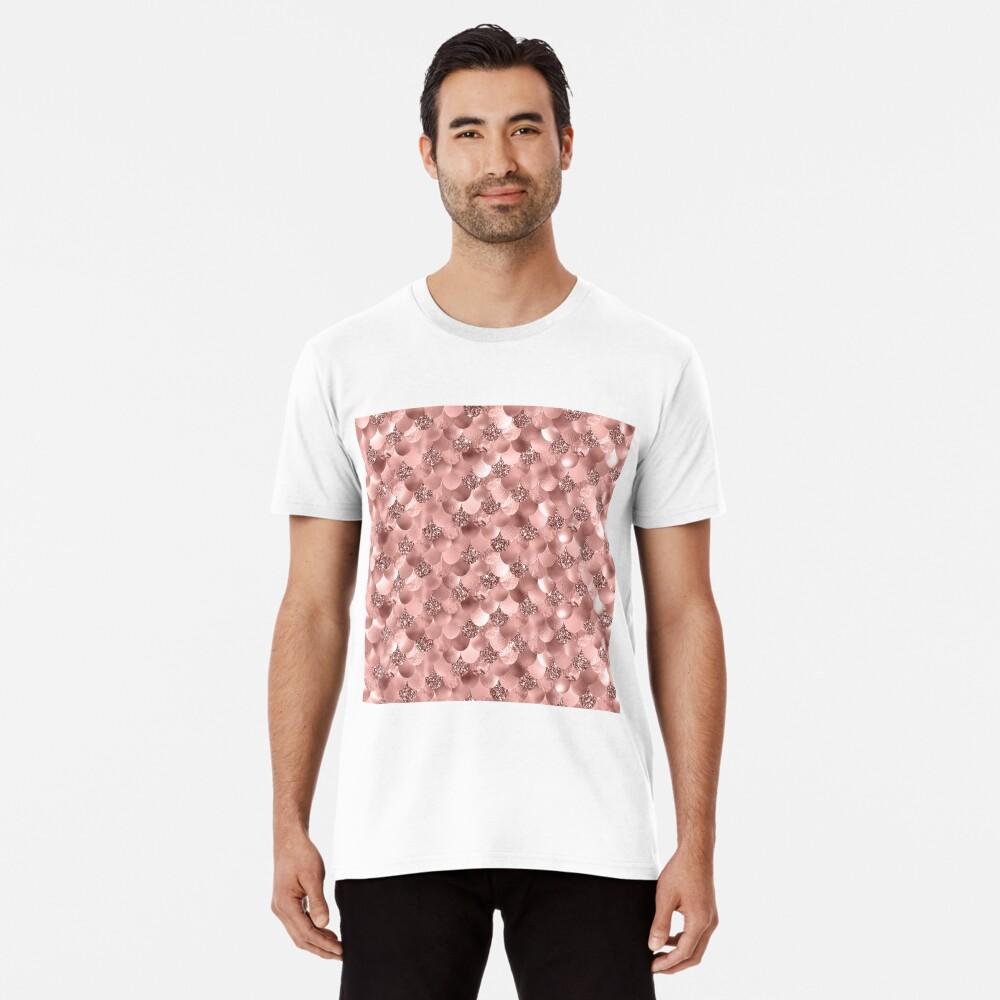 Mermaid Scales Skinny Rose Gold Metallic Sparkly Glitter Blush Pink Premium T-Shirt