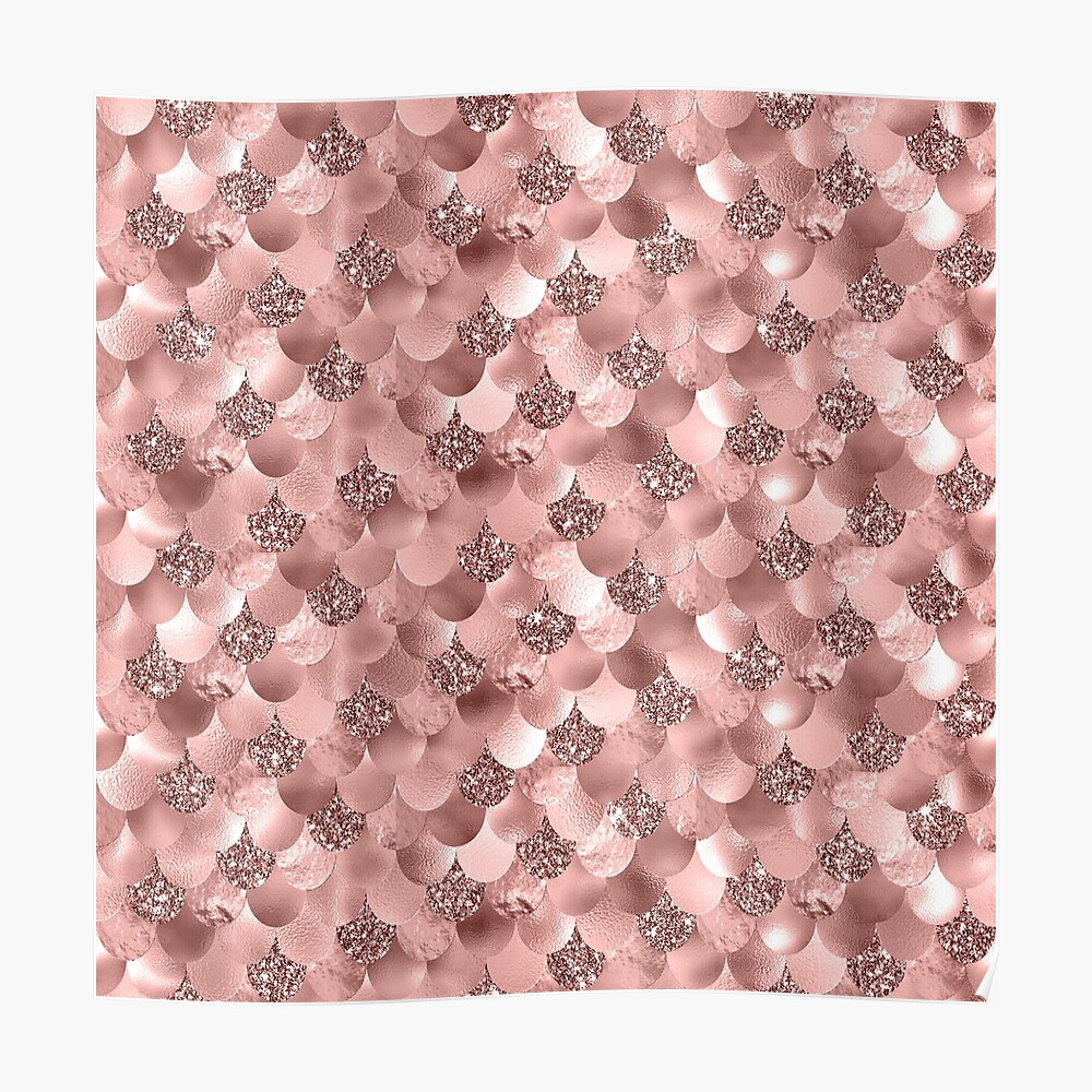 Mermaid Scales Skinny Rose Gold Metallic Sparkly Glitter Blush Pink Poster