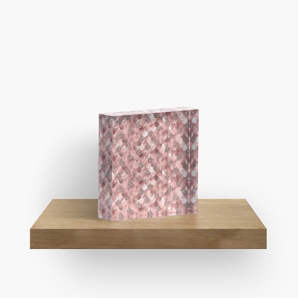 Mermaid Scales Skinny Rose Gold Metallic Sparkly Glitter Blush Pink Acrylic Block