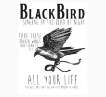 Blackbird The Beatles Minimalist Typography Tee | V-Neck