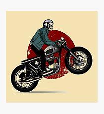 Skeleton rigind a motorbike Photographic Print