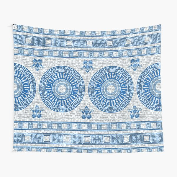 Greek Gods Pattern (blue version) Tapestry