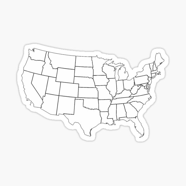 Color Your Own US States Travel Map Sticker
