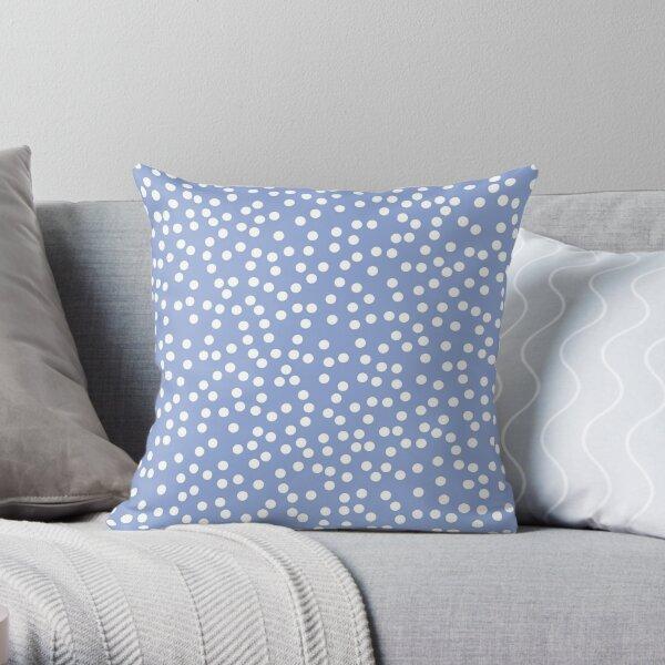 Modern Periwinkle and White Polka Dots Throw Pillow