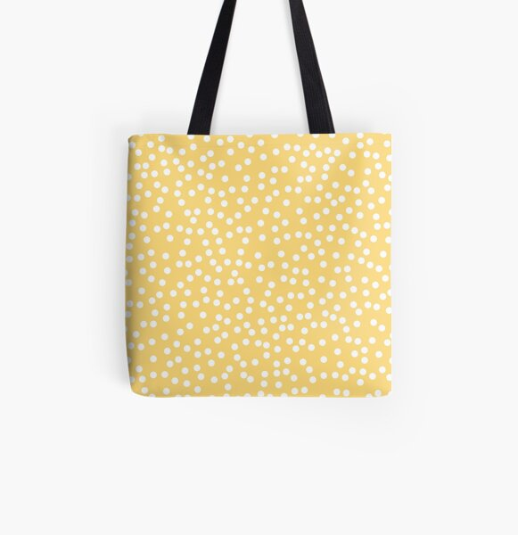 Simple Yellow and White Polka Dots All Over Print Tote Bag