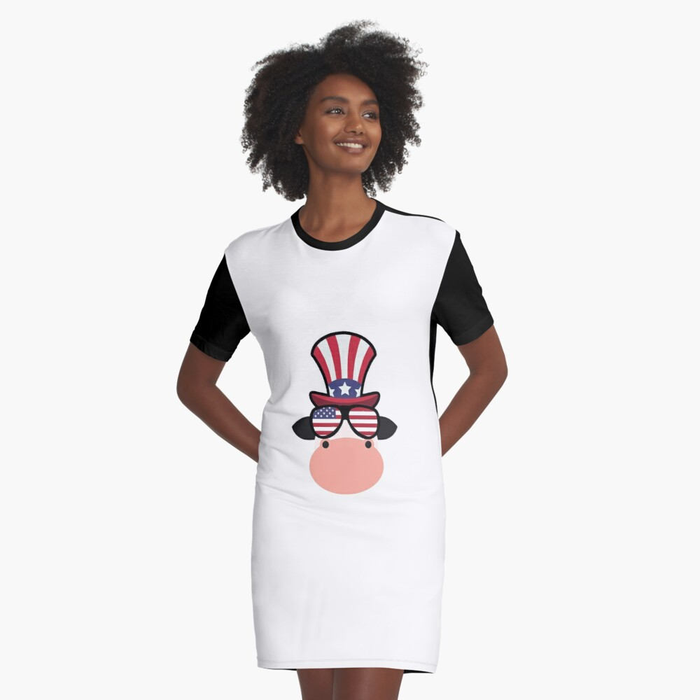 Cow Happy 4th Of July Vestido camiseta