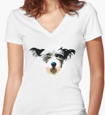 pooch Women's Fitted V-Neck T-Shirt
