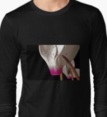 close up of a Persian Violet Cyclamen persicum with a black background Long Sleeve T-Shirt