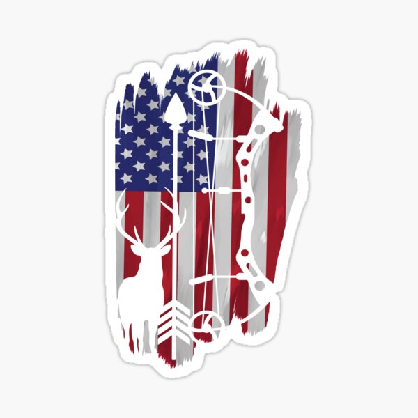 USA Bow Hunting Flag Patriotic Gift Sticker