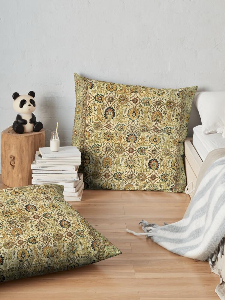 Alternate view of Antique Persian Tabriz Rug Print Floor Pillow