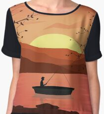 Fisherman In Boat On The River Chiffon Top