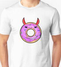 Evil devil's demon donut with red horns Unisex T-Shirt