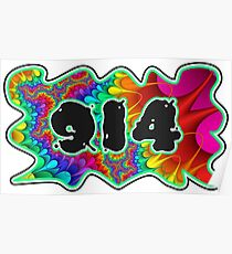 ABSTRACT, GROOVY, AND PSYCHEDELIC 914 DESIGN - VIBRANT COLORS WITH YOUR FAVORITE AREA CODE Poster