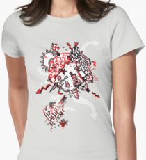 Red Carbon Sands Womens Fitted T-Shirt