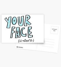 Your Face, Cute I Miss You Card, Missing Your Face, Greeting Card Postcards