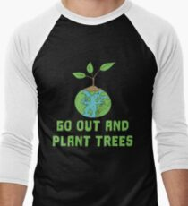 Nature Save the World plant 2 Tree Forest Weather flora Men's Baseball ¾ T-Shirt