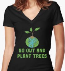 Nature Save the World plant 2 Tree Forest Weather flora Women's Fitted V-Neck T-Shirt