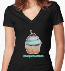 I's cupcake o'clock Women's Fitted V-Neck T-Shirt