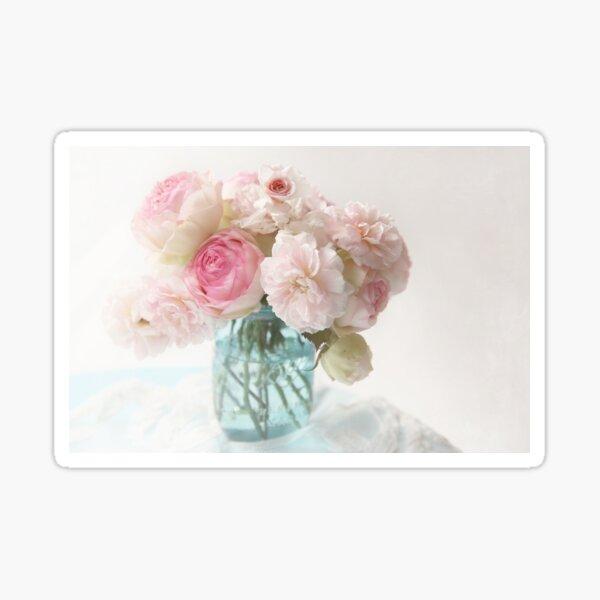 pink roses in blue jar Sticker