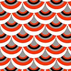 Retro Style Geometric Orange Mix Repeat Pattern  by Artification