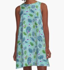 Bright Blue with Dark Blue & Green Sea Turtles with Purple Fish A-Line Dress