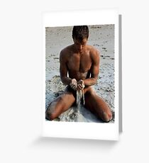 Jason in the sand Greeting Card