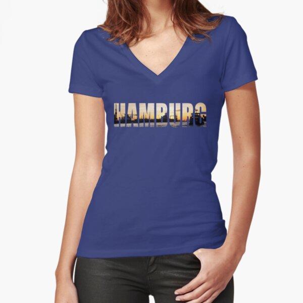 Hamburg Sunset Tailliertes T-Shirt mit V-Ausschnitt