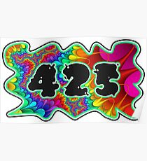 ABSTRACT, GROOVY, AND PSYCHEDELIC 425 DESIGN - VIBRANT COLORS WITH YOUR FAVORITE AREA CODE Poster