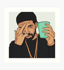 Drake Middle Finger Art Print